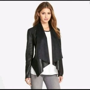 KUT Ana Faux Leather Drape Front Jacket — M